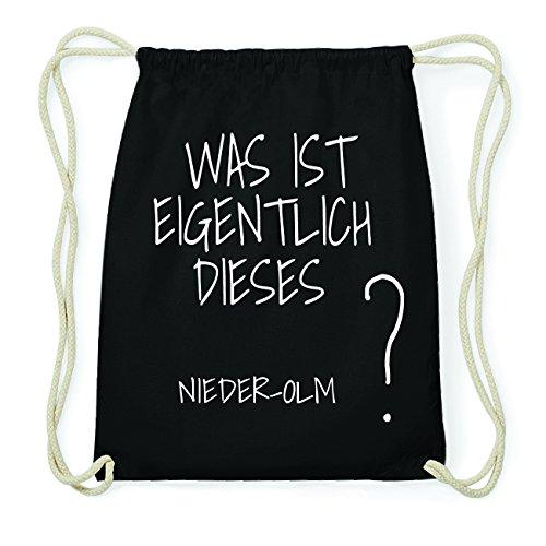JOllify NIEDER-OLM Hipster Turnbeutel Tasche Rucksack aus Baumwolle - Farbe: schwarz Design: Was ist eigentlich WLAg3M1v58