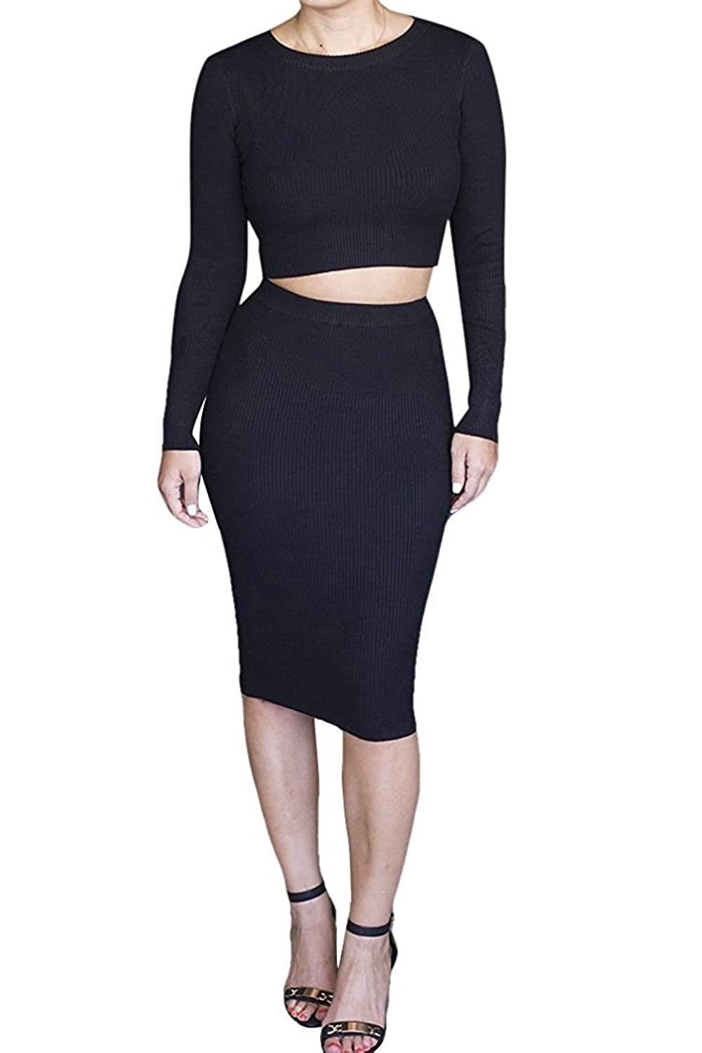 YiYaYo Womens Long Sleeve Crop Top Midi Skirt Outfit Two Pieces Bodycon Dress