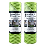 DII Kitchen Millennium Non Adhesive, Smooth Top, Cut to Fit and Washable Shelf or Refrigerator Liner Rolls, 12-Inch by 10-Feet, Green, Set of 2