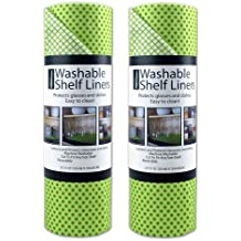 DII Non Adhesive Cut to Fit Machine Washable Shelf Liner Paper For Cabinets, Kitchen Shelves, Drawers, Set of 2, 12 x 10 - Green Dots