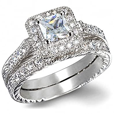 1 carat princess cut diamond vintage wedding ring set in white gold - Wedding Ring Princess Cut