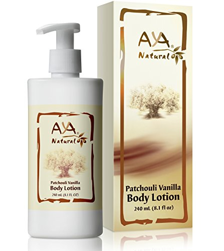 Aya Natural Body Lotion for Dry Skin - Natural Vegan Moisturizer with Olive, Jojoba, Avocado, Almond Oils Blend & Patchouli Vanilla Scent