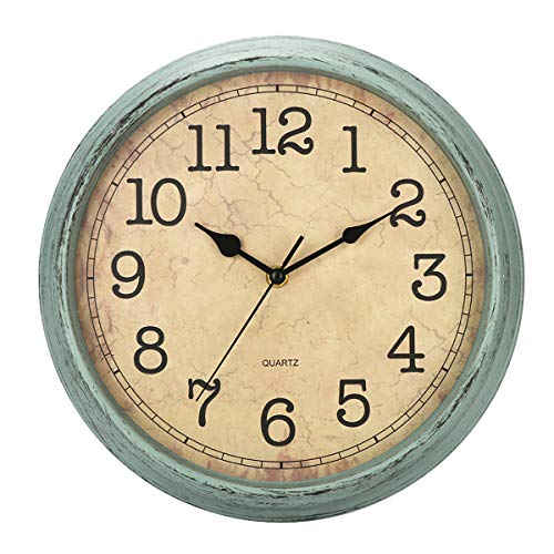 Grey Metal Wall Clock Retro Large Round Home Office Bedroom Kitchen Work