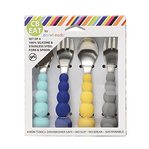 Chewbeads CB EAT Flatware - Feeding Utensils Set for Babies, Toddlers, and Kids. Baby Safe 100% Silicone and Stainless Steel Kids Silverware Set (Blue/Grey)