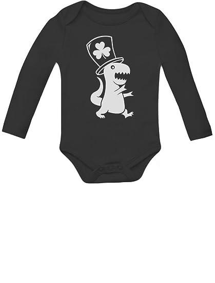 8cd1f32ffc9 Amazon.com  Irish T-Rex Dinosaur Clover Hat St. Patrick s Day Baby Long  Sleeve Bodysuit  Clothing