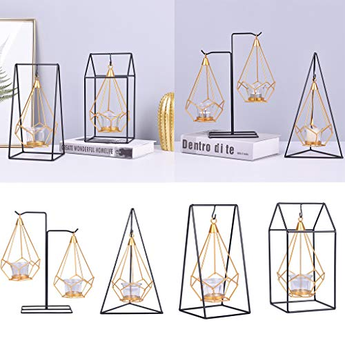LLJEkieee Candle Holder Metal Geometry Creative Gift Night Hanging Candlestick Table Lantern Candlestick for Parties, Weddings,Xmas, Shop Windows (B)