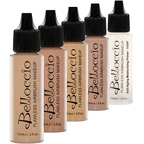 Belloccio Medium Color Shade Foundation Set - Professional Cosmetic Airbrush Makeup in 1/2 oz Bottles ()