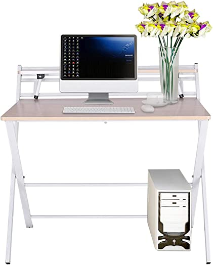 Small Folding Desk Computer Desk for Small Space Home Office Simple Laptop Writing Table No Assembly Required White