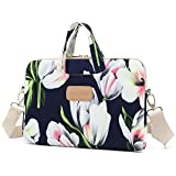 Dachee White Tulips Patten Laptop Shoulder Messenger Bag Case Sleeve for 11 Inch 12 Inch 13 Inch Laptop and Macbook Air Pro 11 12 13 case bag