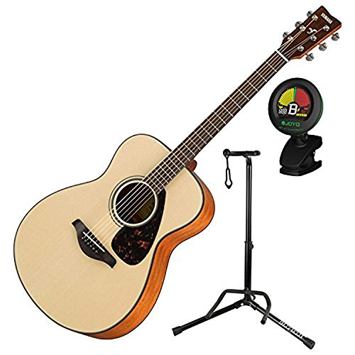 Yamaha FS800 Small Body Folk Sitka Spurce Solid Top 6 String Acoustic Guitar Package with Guitar Stand and Tuner for Guitar (Concert Guitar Acoustic)
