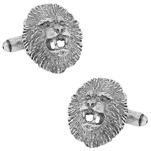 Cuff-Daddy Lion Head Cufflinks with Presentation Box (Head Sterling Silver Cufflinks)