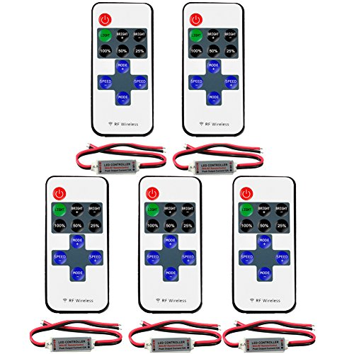 FAVOLCANO® (5 Pack) Mini LED Controller Dimmer with 11 Key RF Wireless Remote Control DC 5~24V 12A for Single Color 3528 5050 LED Strip Lights -  FC-E008085x5