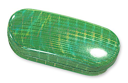 Large Hard Shell Eyeglass Case For Women & Men, Glossy Prismatic Finish, Green