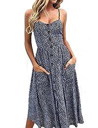 NANYUAYA Women Bohemian Spaghetti Strap Button Down Swing Midi Dress with Pockets