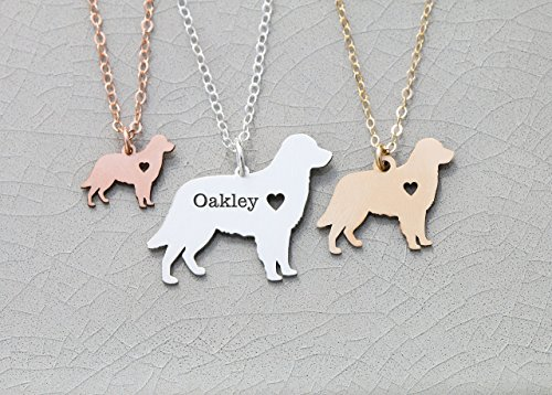 Golden Retriever Dog Necklace - IBD - Personalize with Name or Date - Choose Chain Length - Pendant Size Options - 935 Sterling Silver 14K Rose Gold Filled Charm - (Silhouette Black Necklace)