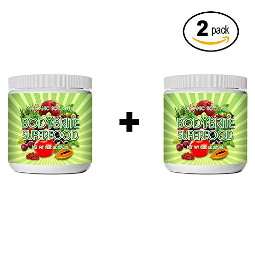 Superfood Powder Total BodyBrite for diet, weight loss, energy boost, or detox. Best green superfood nutritional supplement. 21 delicious fruits, greens & vegetables. Amazing antioxidants. (2 Pack) by Sunlit Best Green Organics