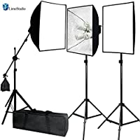 LimoStudio Photo Video Studio 2400 Watt Softbox Continuous Light Kit with Overhead Head Light Boom Kit, Energy Saving Bulb, Light Stand Tripod, Sand Weight Bag, Photography Studio, AGG2285
