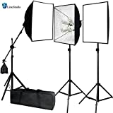 LimoStudio Photo Video Studio 2400 Watt Softbox Continuous Light Kit with Overhead Head Light Boom Kit, Energy Saving Bulb, Light Stand Tripod, Sand Weight Bag, Photography Studio, AGG2285