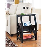 Magazine Rack / Side Table, Contemporary Magazine Rack MR1204 in Veneer Construction and Black Finish