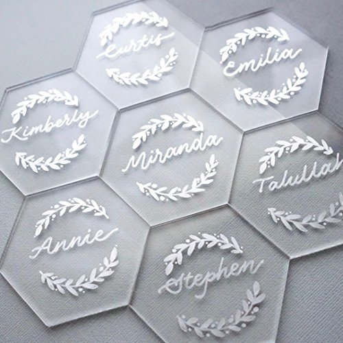 UNIQOOO 80 Clear Acrylic Escort Place Cards - Extra Thick Hexagon Shape - Perfect for Wedding, Dinner Parties, Table Numbers, Guest Name, Food Signs, Banquet Events, 3 1/8 x 2 3/4 inch ()
