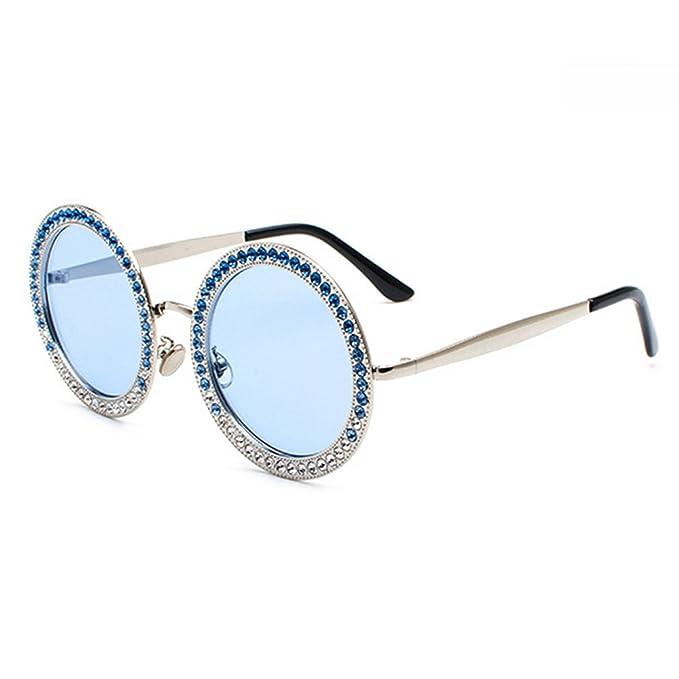 Gafas de sol redondas de gran tamaño con diamantes de imitación para mujer  Elegante marco grande 33b93bf73e5d