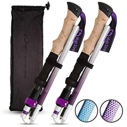 Trekking Pole Hiking Stick - High Stream Gear Walking Sticks for Women, 2 Lightweight Foldable Hiking & Trekking Poles, Adjustable Quick Lock Collapsible Folding Poles (Purple)