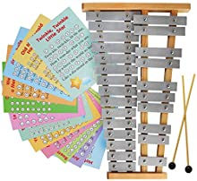 Glockenspiel 25 Note - Chromatic Metal Xylophone - Sheet Music Cards