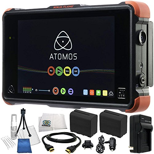 "Atomos Ninja Flame 7"" 4K HDMI Recording Monitor 18PC Accessory Kit. Includes 2 Replacement F970 Batteries, AC/DC Rapid Home & Travel Charger, MORE from SSE"