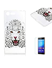 For Sony Xperia X Compact Case [with Free Screen Protector], Funyye Fashion lovely Lightweight Ultra Slim Anti Scratch Transparent Soft Gel Silicone TPU Bumper Protective Case Cover Shell for Sony Xperia X Compact -leopard