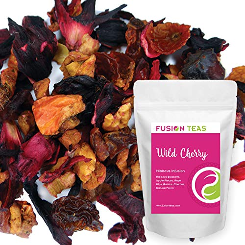 Wild Cherry Hibiscus Herbal Fruit Tea - Caffeine Free Loose Leaf Bulk Herbs and Flowers - 5 Oz Pouch