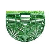 Miuco Womens Acrylic Handbag Handmade Ark Clutch Purse Green