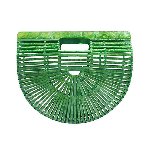 Miuco Womens Acrylic Handbag Handmade Ark Clutch Purse Green by Miuco