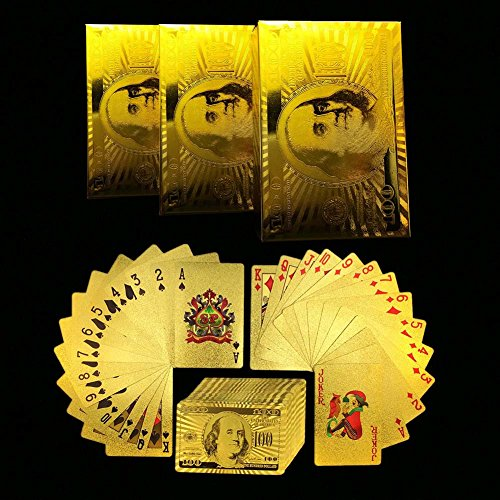 Zlimio Luxury 24K Waterproof Gold Foil Plated Poker Playing Card