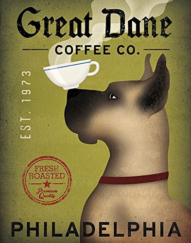 Scooby Doo Brown Great Dane Coffee Co Philadelphia by Ryan Fowler 14x11 Great Dane Coffee Signs Dogs Animals Art Print Poster Wall Decor Vintage Advertising Sign Gentle Giant (Posters Coffee Vintage)