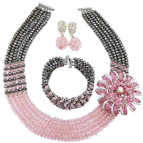 laanc Womens Girls Necklace Bracelet 5 Rows Gold AB and Colorful Crystal Beads African Jewelry Sets (Silver Peach)