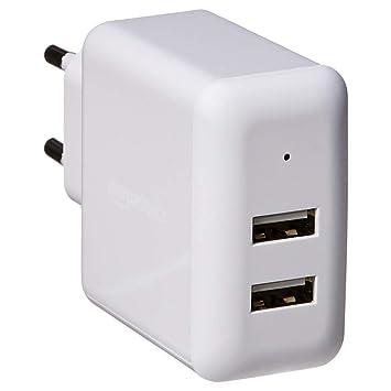 AmazonBasics – Cargador USB de pared de dos puertos (2,4 amperios), Blanco