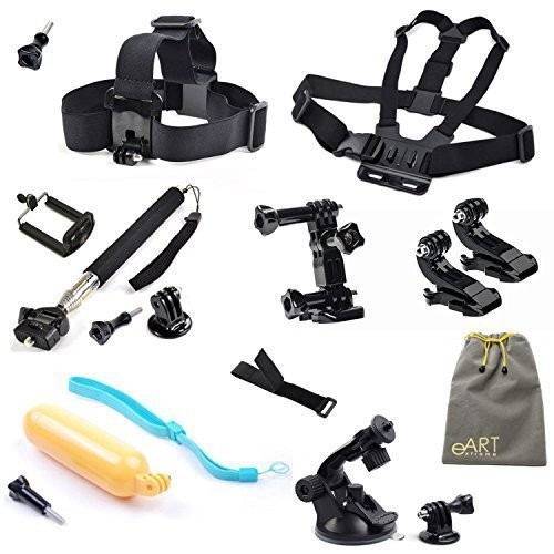 Accessories Kit for Gopro Hero HD Camera Hero4 Black/Silver Hero3+ Hero3 , Head Belt Strap Mount + Chest Belt Strap Mount + 3-way Adjustment Base + Extendable Handle Monopod + Cell Phone Mount + Car Suction Cup Mount Holder + Floating Handle Grip + 2 PCS Gopro Surface J-Hook + Remote Wrist Strap + 2 PCS Tripod Mounts Adapter + Big eART pouch + 7 PCS Thumb Screw - extremeART 13-in-1