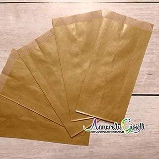 100 pezzi SACCHETTI carta DORATI, confettata, 8x15 cm, ORO, bustine carta, sacchetti carta confetti, confettata, sacchettini kraft ORO