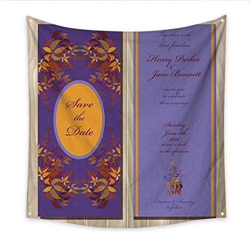 Invitations Wedding Grape - Feminine Tapestry Autumn Wild Grape Wedding Invitation Card Printable Vector Illustration Beach Throw Tapestry 70W x 70L Inch