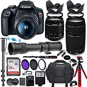 Canon EOS Rebel T7 DSLR Camera with 18-55mm is II Lens Bundle + Canon EF 75-300mm III Lens & 420-800mm Preset Telephoto…