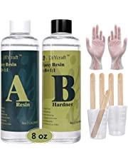 DIYcraft 8oz (236ml)Epoxy Resin with Tools Kit,2 Part Crystal Clear Casting Resin for Jewelry Making,Tumbler Crafts,Art, Wood -Crafts Cast Coating- Mold Made Resin,Easy Mix 1:1 for Beginner…