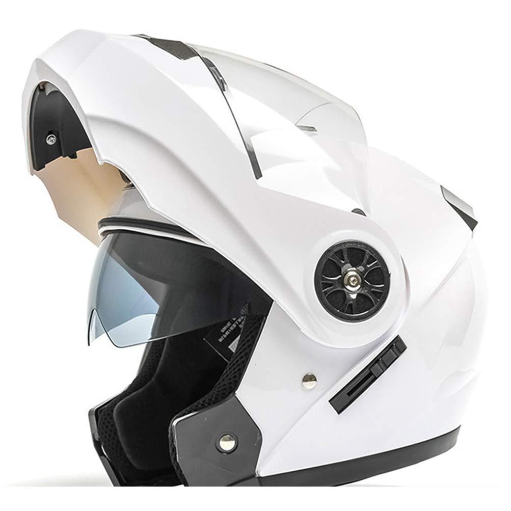 Desconocido Casco integral de motocicleta de doble visera Modular Flip Up Sun Shield Cascos de moto Flip para hombre