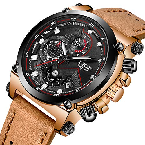 LIGE Men's Fashion Sport Quartz Watch LIGE Brown Leather Strap Chronograph Waterproof Auto Date Analog Black Men Wrist Watches