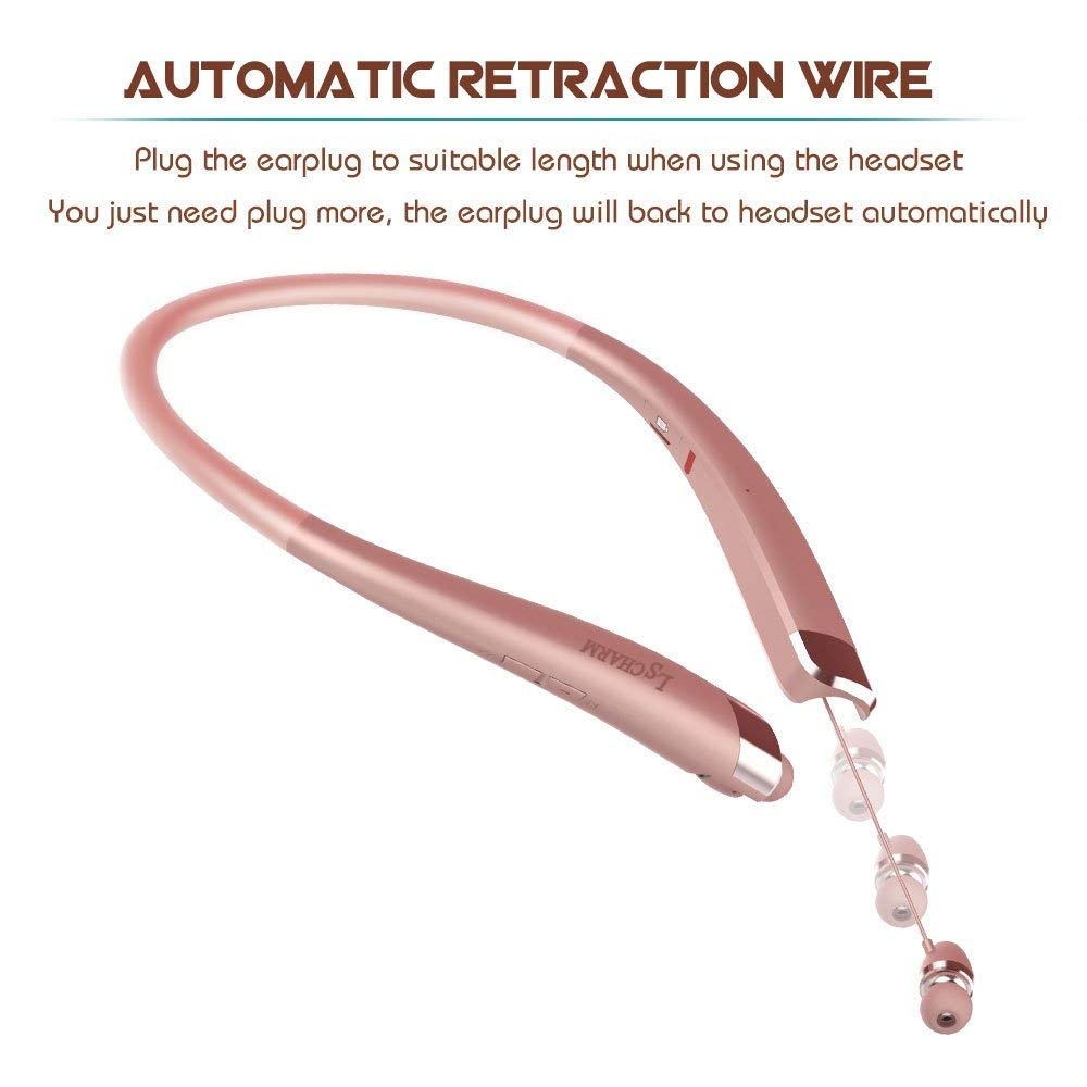 Bluetooth Headphones Retractable, LSCHARM Sport Wireless Stereo Neckband Headset Retractable Earbuds Noise Cancelling with Mic (Rose Gold)