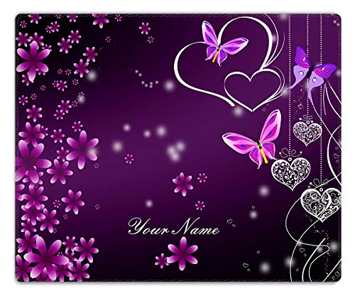 (Meffort Inc Custom/Personalized Design Mouse Pad with Stitched Edges, Customized Your Name - 9.5 x 7.9 Inch, Purple Heart Butterflies 2)