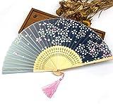 Green 100Pcs Bamboo Ribs Pocket Fans Elegant Blossom Flower Folding Hand Fan Summer Women Girl Dancing Fan