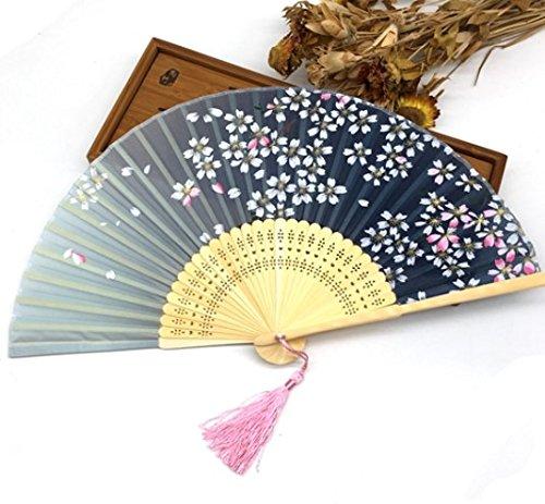 Green 100Pcs Bamboo Ribs Pocket Fans Elegant Blossom Flower Folding Hand Fan Summer Women Girl Dancing Fan by Hand Fan