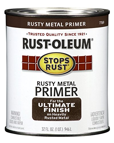 Rust-Oleum 7769502 Protective Enamel Paint Stops Rust, 32-Ounce, Flat Rusty Metal Primer (Best Paint Brush For Primer)