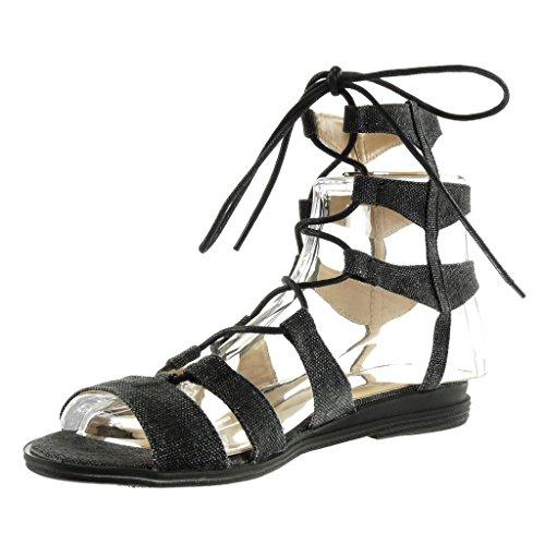 Angkorly - Chaussure Mode Sandale spartiates sexy femme brodé multi-bride Talon bloc 2 CM - Noir