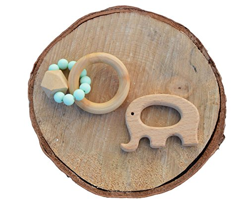 Wooden and Silicone Teether Toy - Natural Teething Relief and Pacifier Pendant attachments (2 pack)